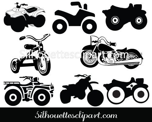 Motorcycle clip art pack. Atv clipart silhouette