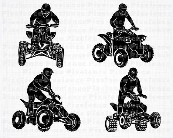 Atv clipart svg. Files wheeler motocross cut