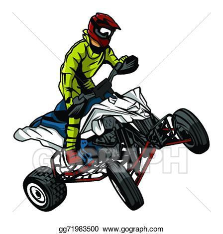 Atv clipart vector. Eps illustration moto rider