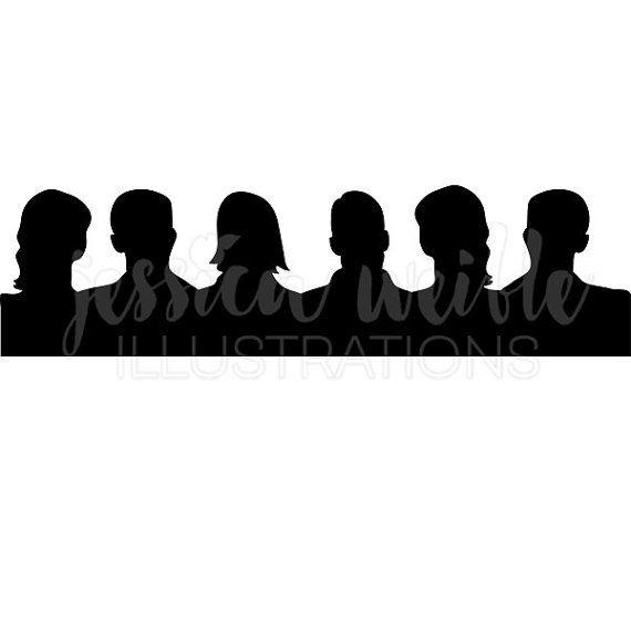 Audience clipart. Silhouette digital crowd clip