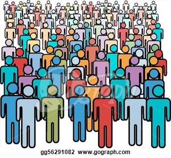 Crowd of people panda. Audience clipart animated
