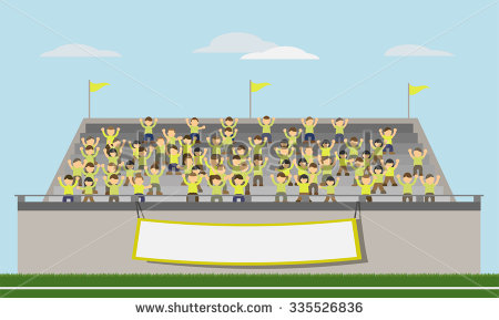 collection of fans. Audience clipart baseball