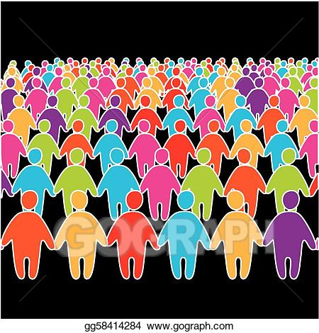 Audience clipart big crowd. Vector illustration of many