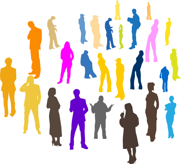 people silhouette at. Meeting clipart official