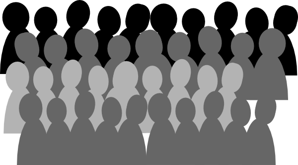 Black and white larger. Audience clipart line art