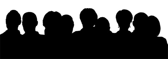 Audience silhouette pencil and. Crowd clipart shadow