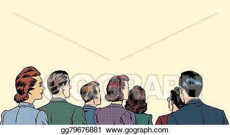 Vector stock spectators stand. Crowd clipart back crowd