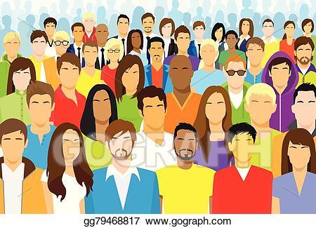 Crowd clipart diverse person. Clip art vector group
