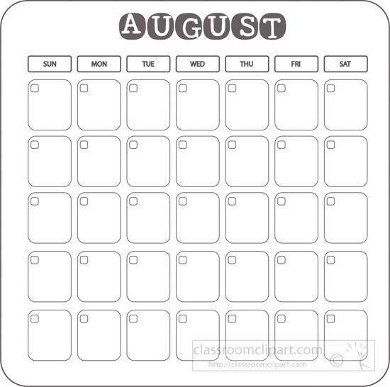 August clipart august 2017. Calendar blank template gray