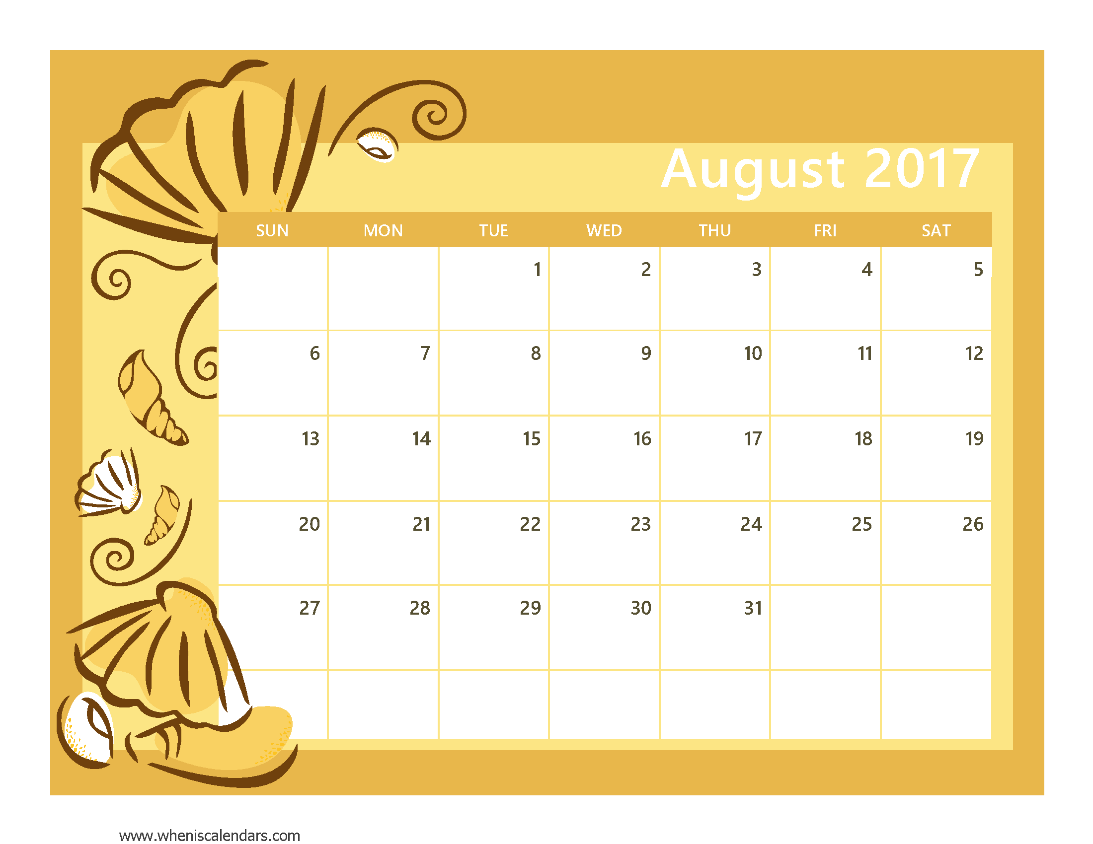 August clipart august 2017. Calendar template with holidays