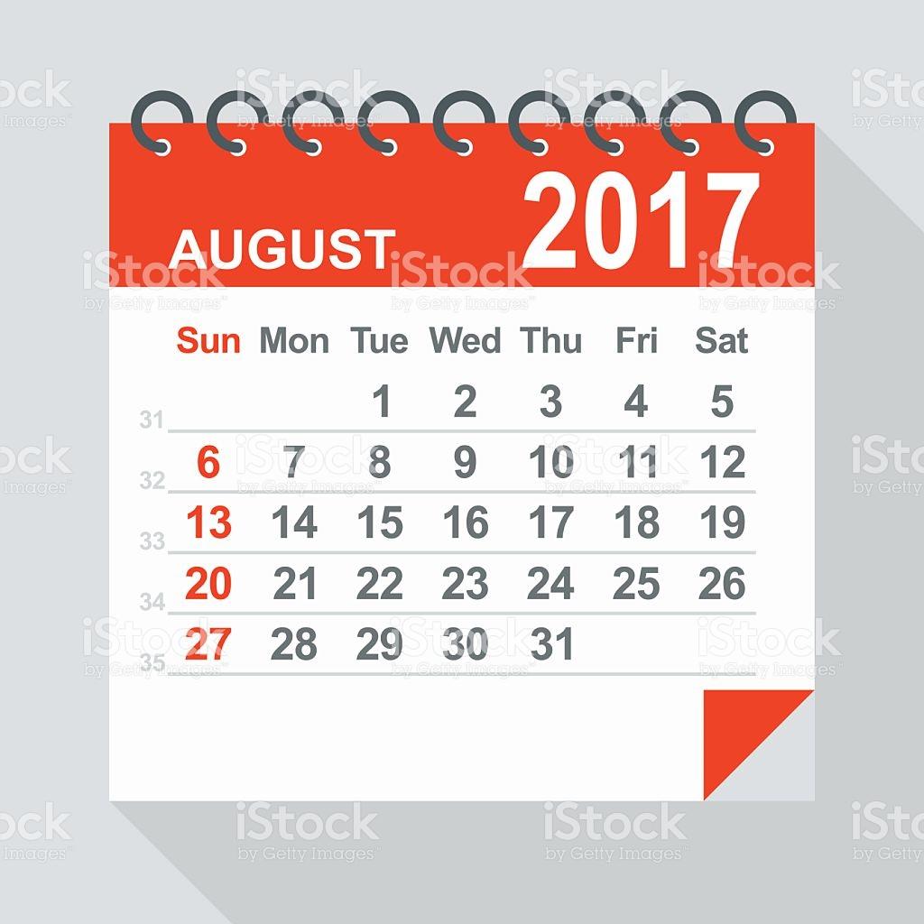 August clipart august 2017. Calendar