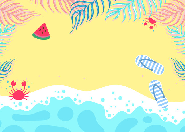 August clipart august beach. Hello cartoon travel psd