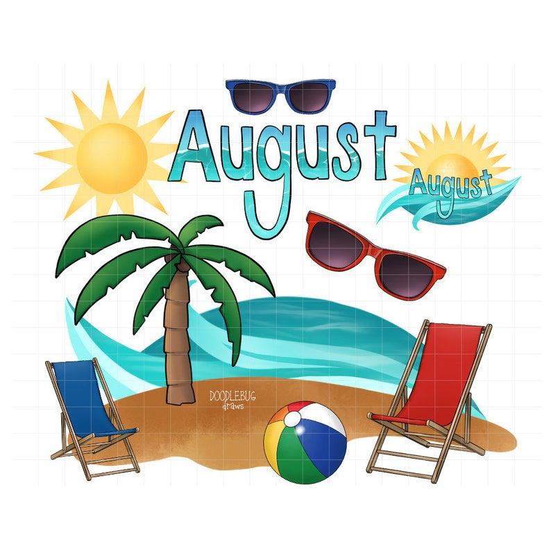 August clipart august beach. Vacation digital planner stickers
