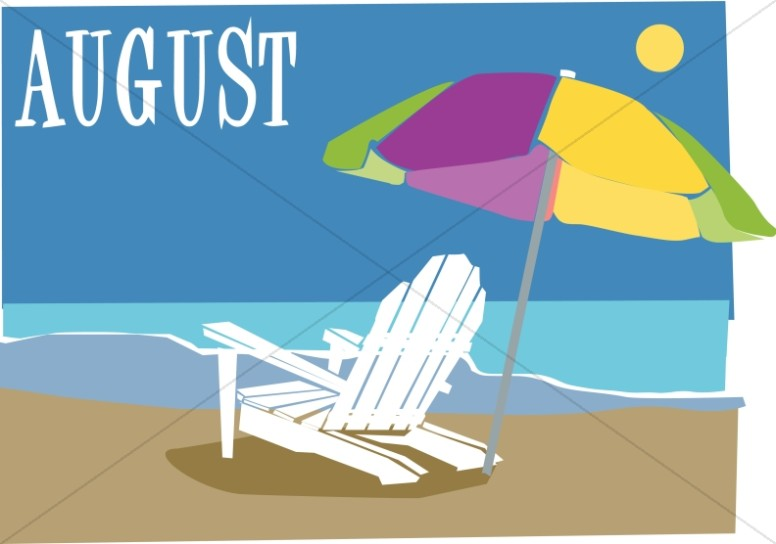 Chair and ubrella in. August clipart august beach