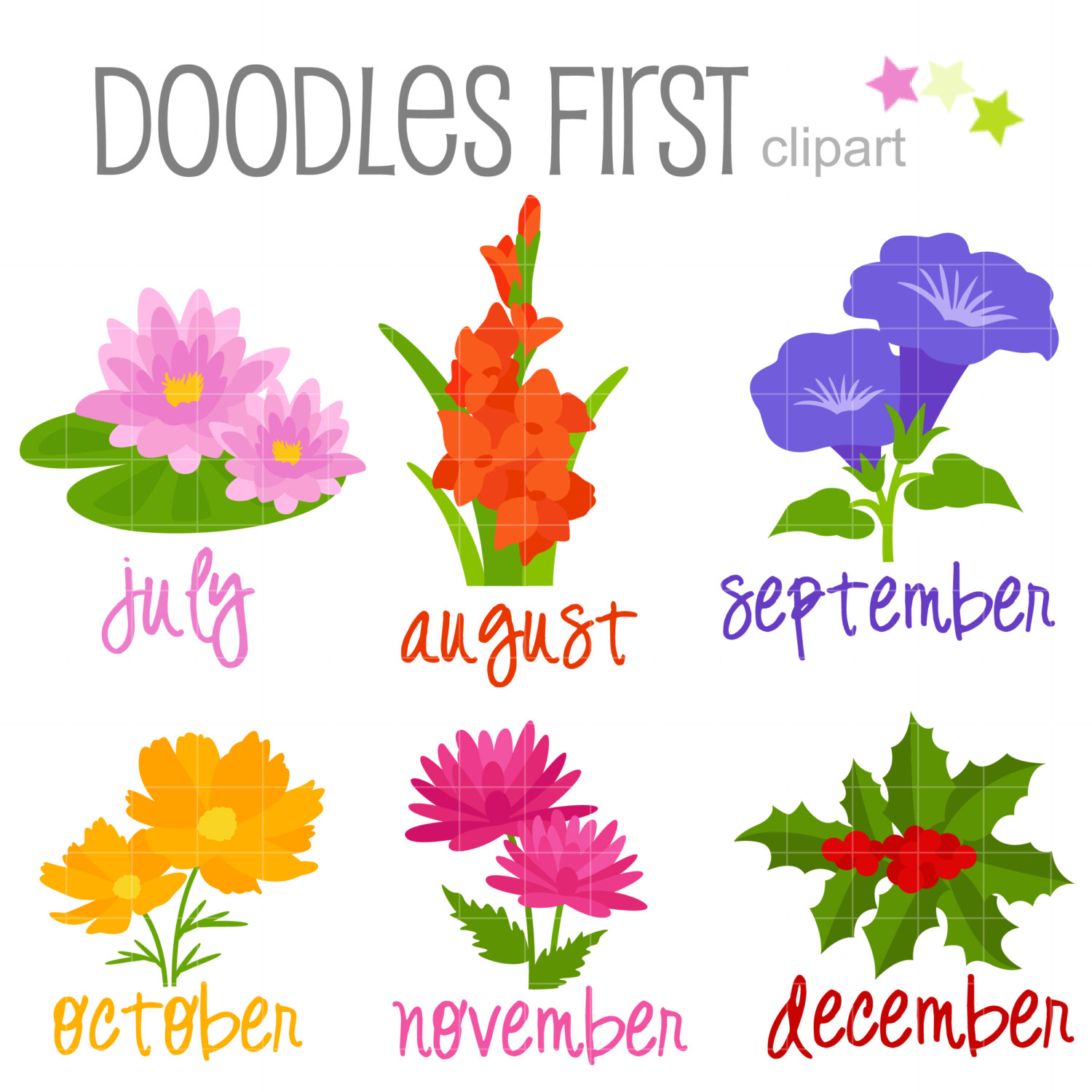 Of the month july. August clipart august flower