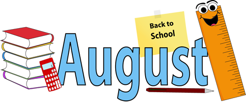 Month of borders . August clipart back to school