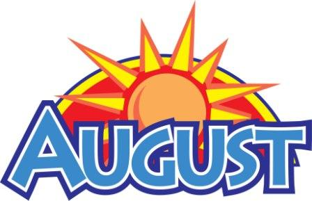 August clipart banner. Weekly words newsletter st