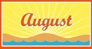 Free calendar. August clipart banner