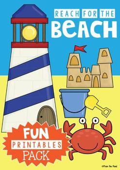 August clipart beach stuff. Summer printables pack end