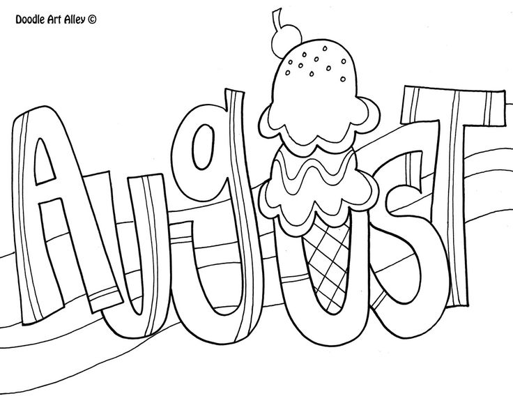 Coloring page adult color. August clipart black and white