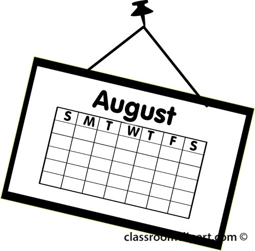 August black and white. Calendar clipart classroom