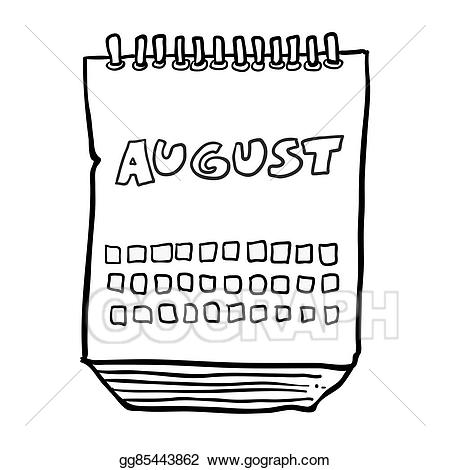 August clipart black and white. Vector freehand drawn cartoon