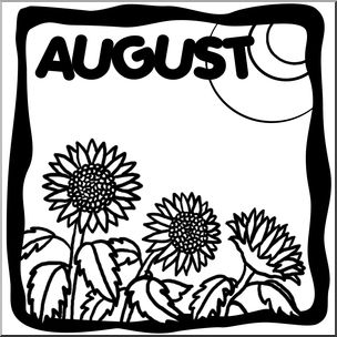 Clip art month graphic. August clipart black and white