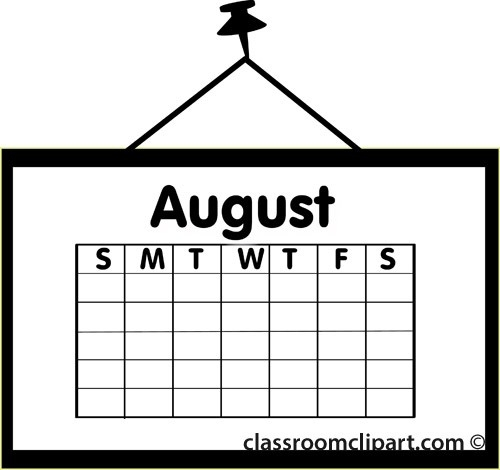 August clipart calendar. Black and white letters