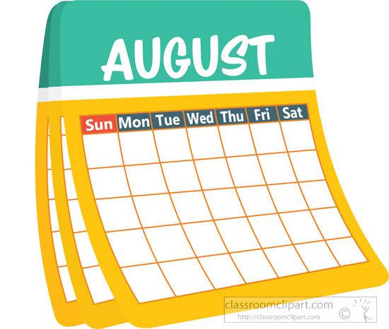 Calendar clipart clip art. August free pictures graphics