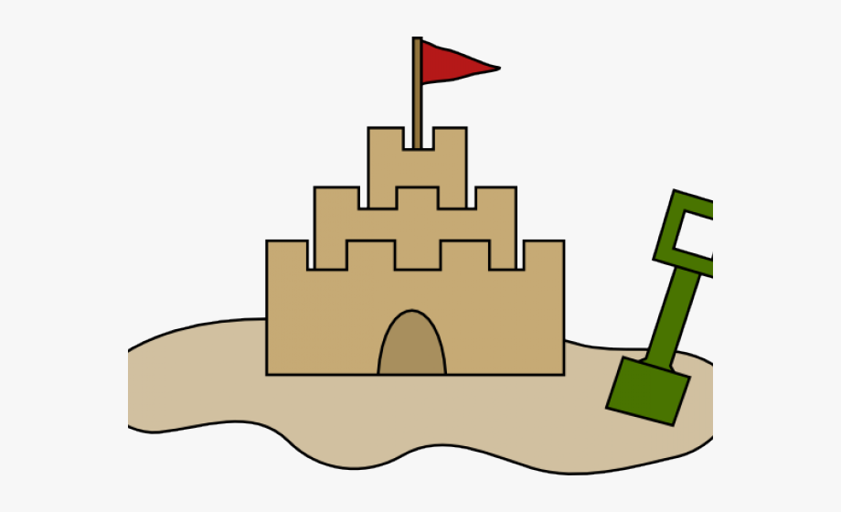 Sand castle drawing . August clipart cartoon