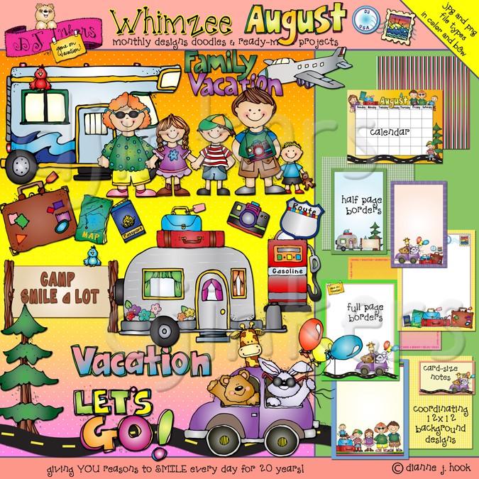 August clipart cartoon. Whimsical clip art and