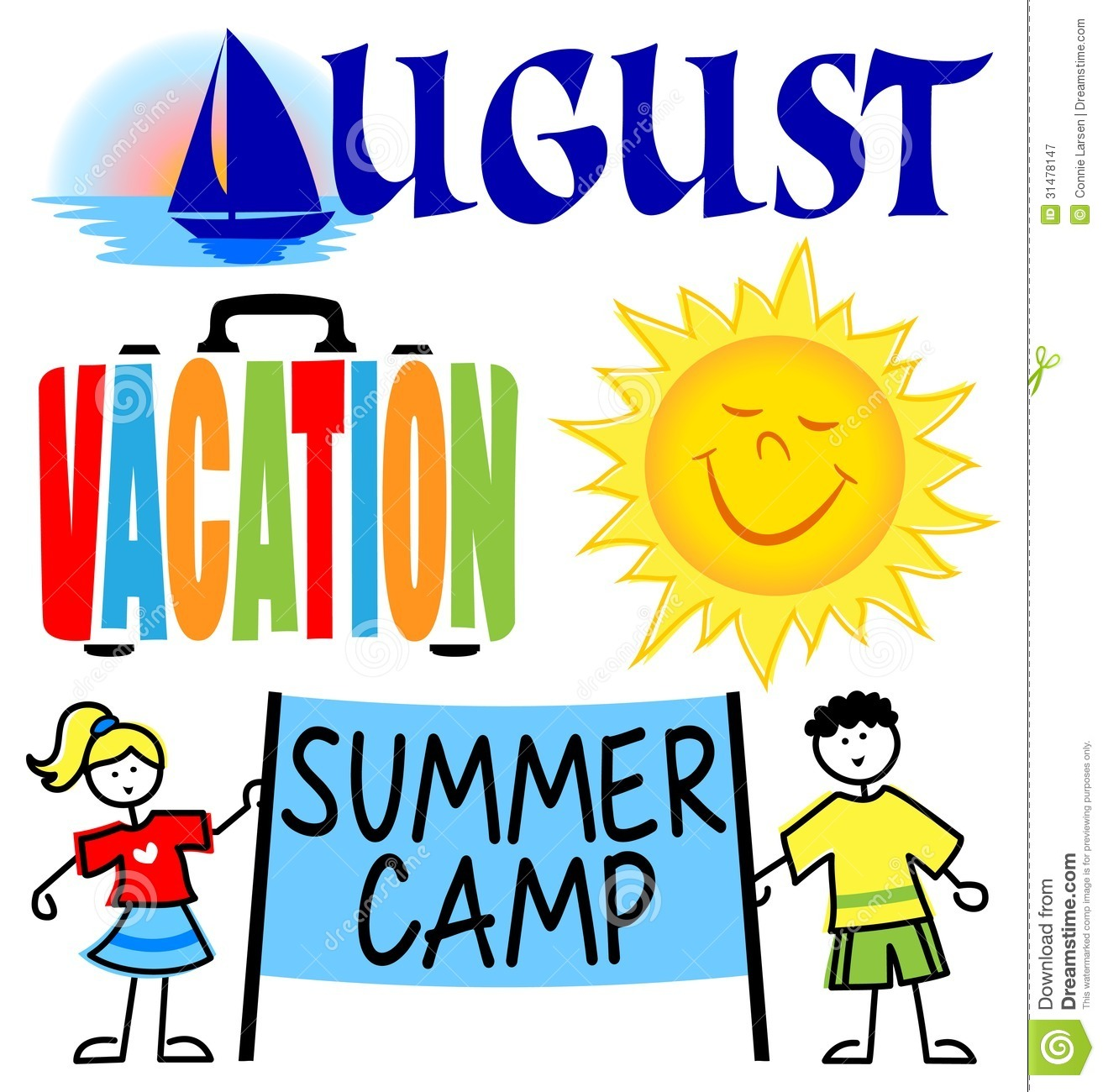 July events . August clipart cartoon