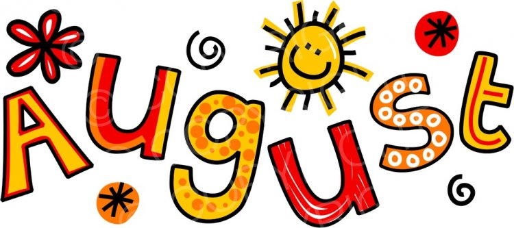 The month of whimsical. August clipart cartoon