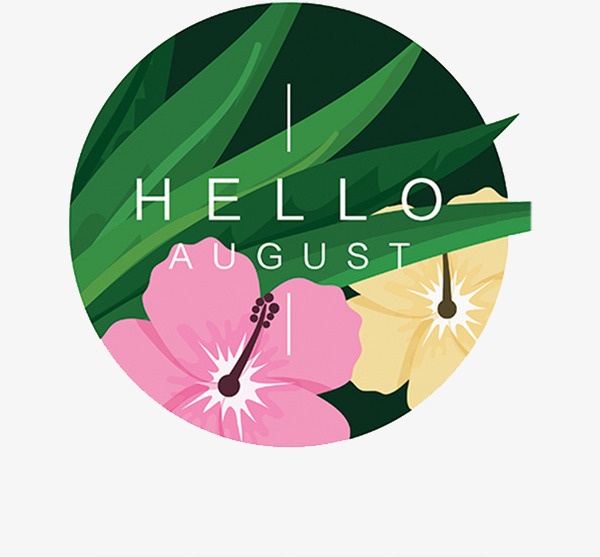August clipart pink. Hello hand flowers green