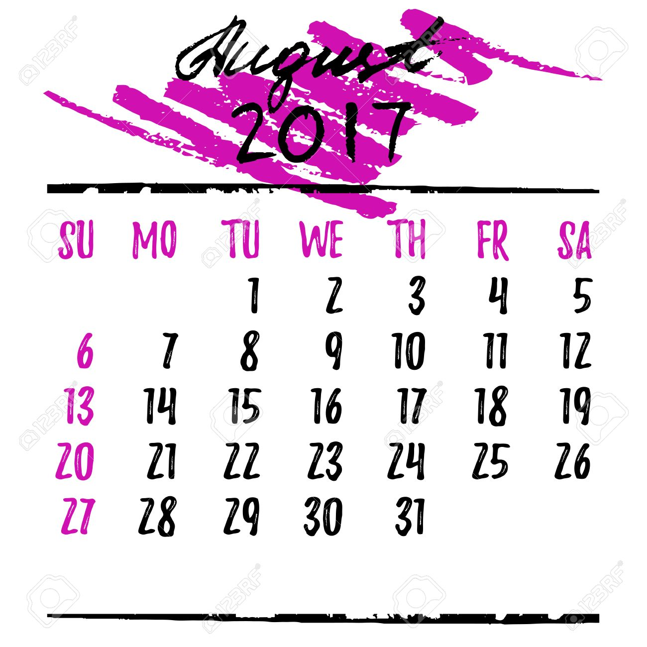 Calendar printable template with. August clipart pink