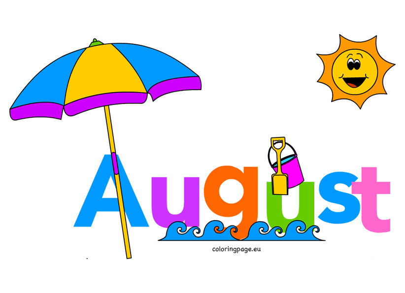 Clipart summer august. Pencil and in color