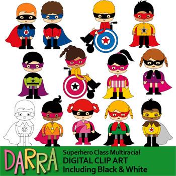 Class multiracial clip art. August clipart superhero