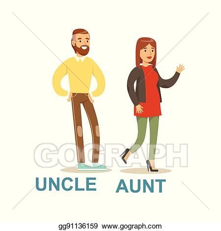 Young clipart aunt. Vector stock uncle and