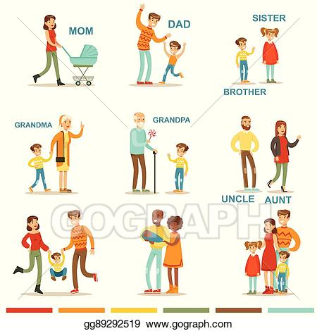Aunt clipart family. Vector illustration happy large