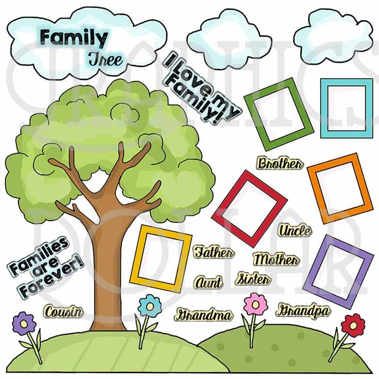 Tree clip art graphics. Aunt clipart family