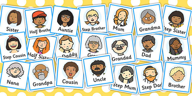 Members role play badges. Aunt clipart individual family member
