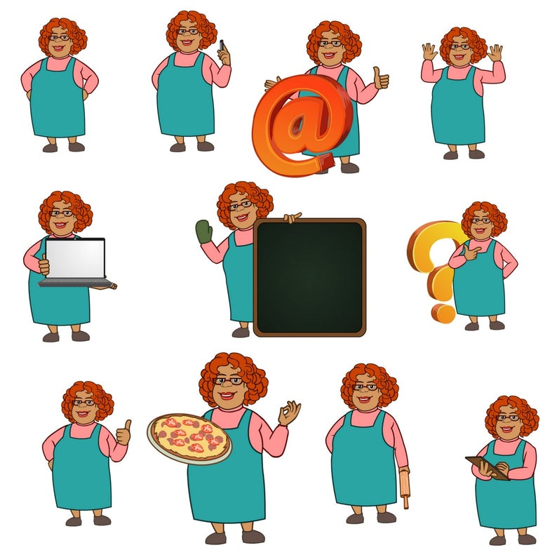 Aunt clipart standing. Mary chef baking character