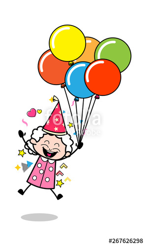 Aunt clipart woman success. Flying wityh balloons old