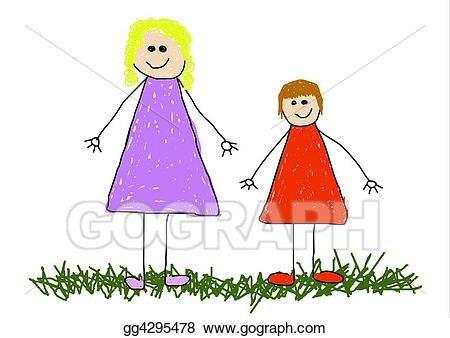 Aunt clipart working mom. Stock illustrations child and