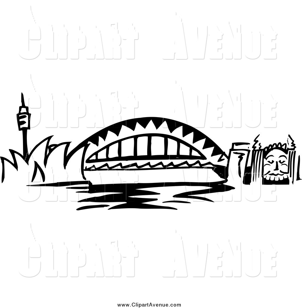 Bridge clipart black and white. Avenue of arched sydney