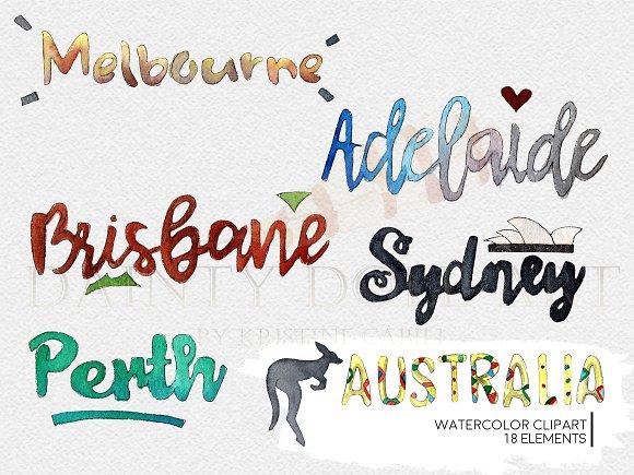 Australia clipart calligraphy. Watercolor travel illustrations creative