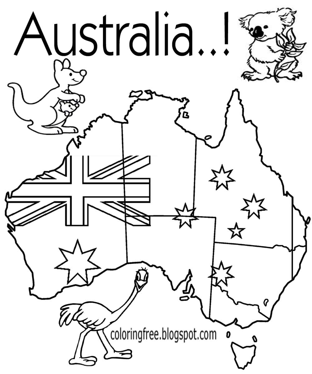 Free coloring pages printable. Australia clipart coloured