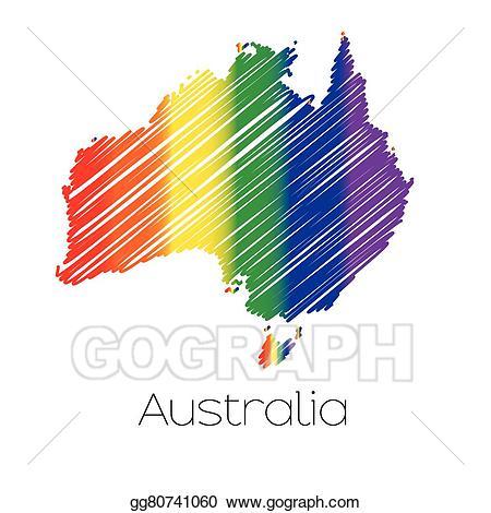 Australia clipart coloured. Eps illustration lgbt scribbled