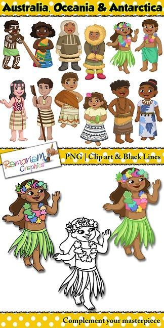 Children of the world. Australia clipart coloured