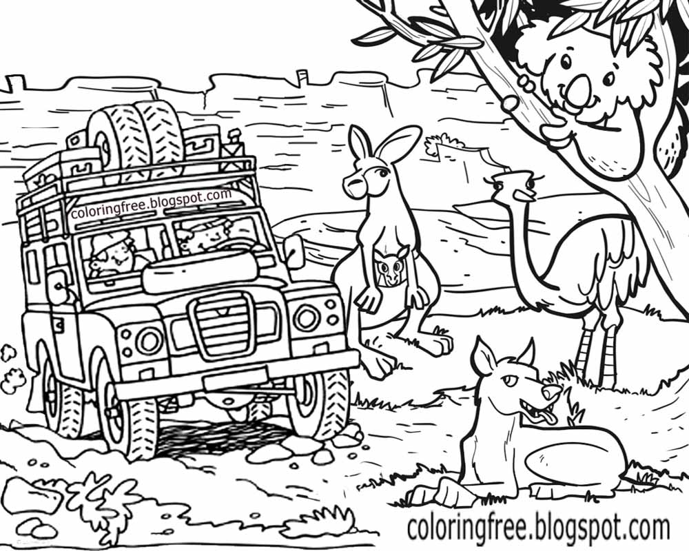 Australia clipart coloured. Free coloring pages printable